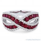 1.97ct Round Cut Red Ruby & Diamond Pave Band Right-Hand Ring in 18k White Gold