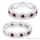 0.75 ct Round Cut Red Ruby & Diamond Pave Evil Eye Charm Ring in 14k White Gold