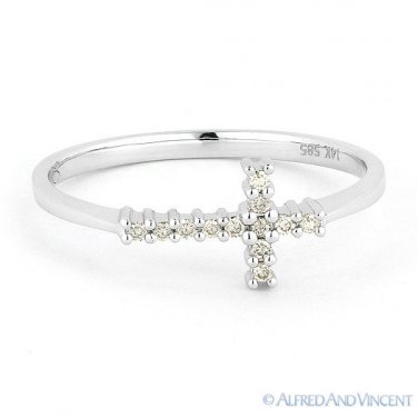 0.07ct Round Cut Diamond Sideways Cross 14k White Gold Right-Hand Promise Ring