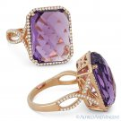 10.57 ct Checkerboard Cushion Amethyst & Diamond Cocktail Ring in 14k Rose Gold