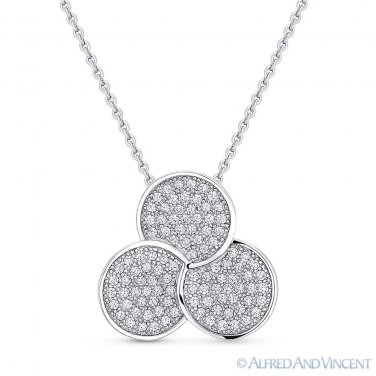 Trefoil Clover Luck Charm CZ Crystal Pave 925 Sterling Silver Pendant & Necklace