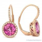 3.32 ct Round Pink Lab Sapphire Diamond Leverback Drop Earrings in 14k Rose Gold