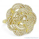 1.49ct Round Cut Diamond Pave Right-Hand Flower Cocktail Ring in 18k Yellow Gold