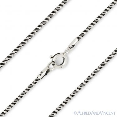 1.5mm Bali M-Link Italian Rope Chain Necklace Oxidized 925 Italy Sterling Silver