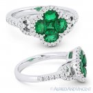1.35 ct Oval Princess Emerald Diamond Pave 18k White Gold Right-Hand Flower Ring