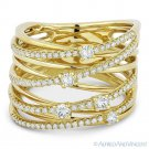 0.63 ct Round Cut Diamond Right-Hand Overlap Loop Wrap Ring in 14k Yellow Gold