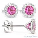 1.53ct Round Cut Pink Lab-Sapphire Diamond 14k White Gold Martini Stud Earrings