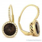 2.78ct Round Cut Smoky Quartz & Diamond 14k Yellow Gold Leverback Drop Earrings