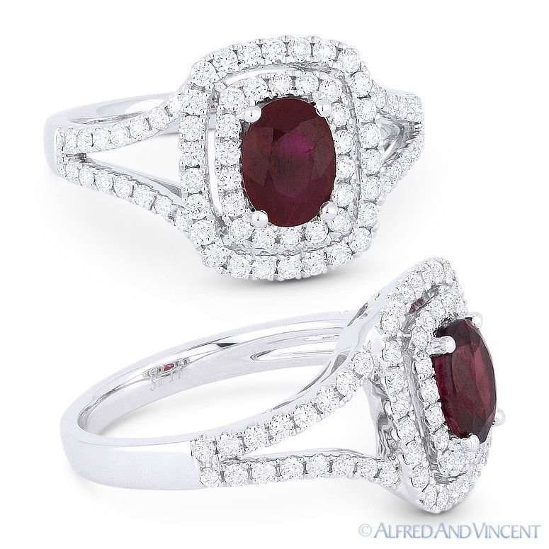 1.89 ct Natural Oval Ruby & Diamond Pave Halo Engagement Ring in 18k White Gold