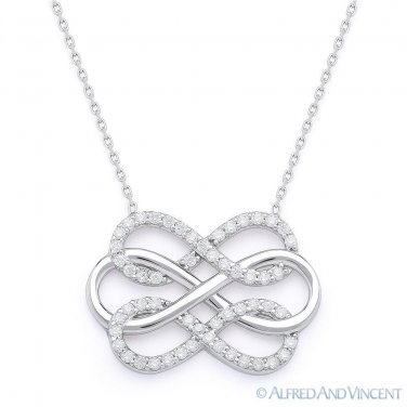 Triple-Infinity Charm Pendant Love Forever Sterling Silver & CZ Crystal Necklace