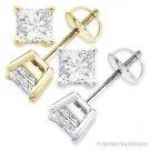 Forever Brilliant 4.00 ct Square Princess Cut Moissanite 14k Gold Stud Earrings