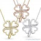 4-Heart Leaf Irish Clover Shamrock Charm CZ Crystal Necklace in Sterling Silver