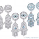 Hamsa Hand & Evil Eye Charm CZ Crystal Dangling Earrings in .925 Sterling Silver