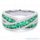1.45 ct Round Cut Emerald & Diamond Pave Band Right-Hand Ring in 18k White Gold