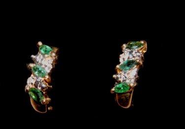 Genuine Emerald and Diamond Earrings