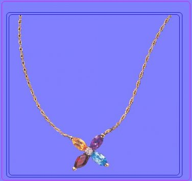 14K Gold Multi-Colored Semi-Precious Necklace