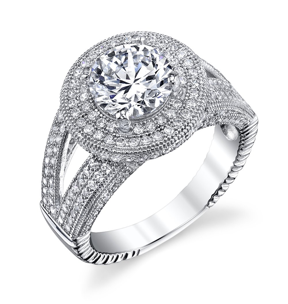 Engagement Ring .925 Sterling Silver Signaty Diamonds Micro Pave