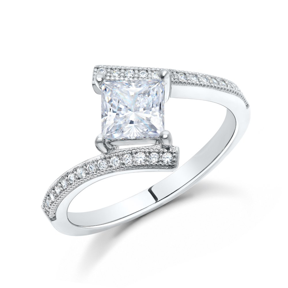 Princess Ladies Engagement Ring Micro Pave sides .925 Sterling Silver Signaty Diamonds