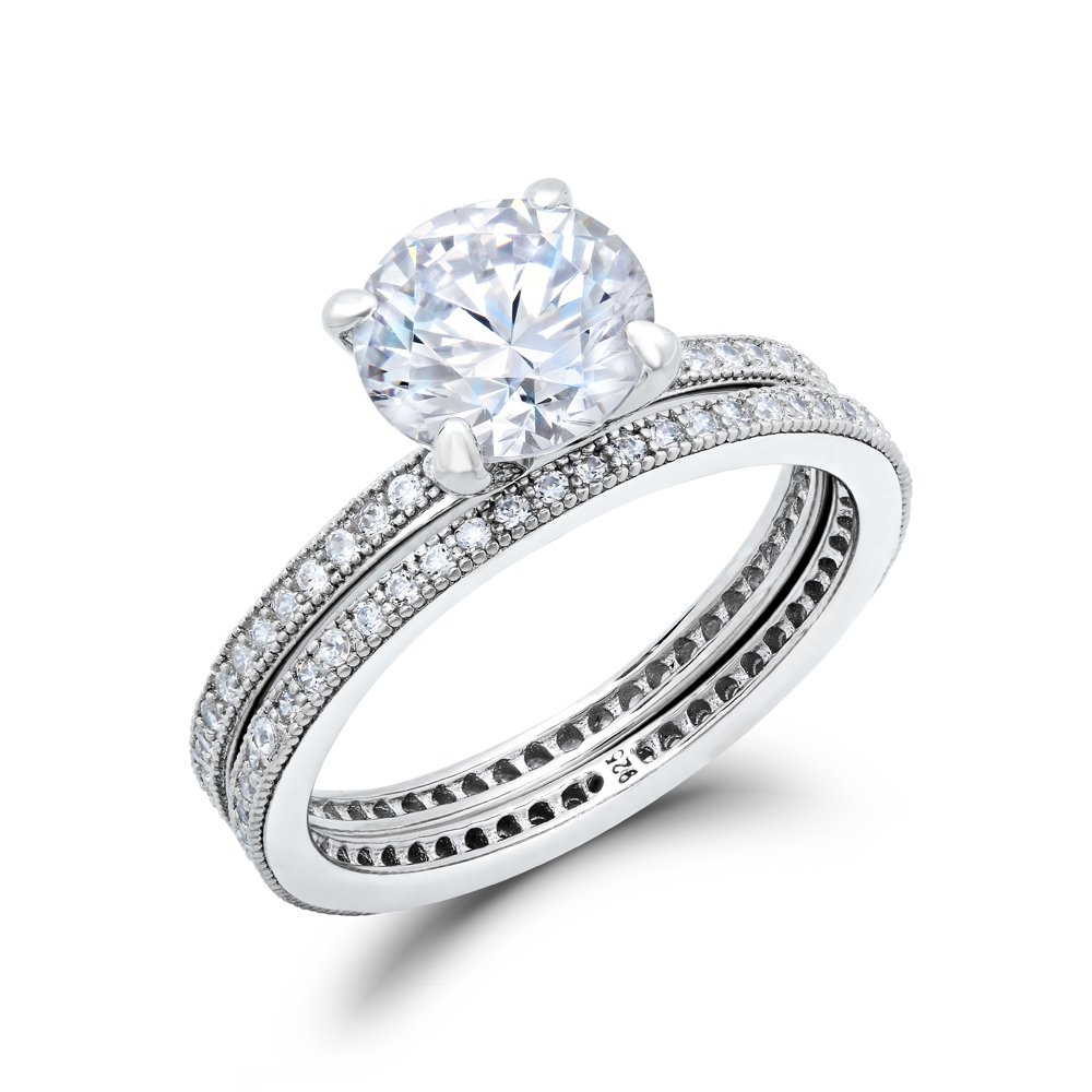 Double Band Ladies Engagement Ring .925 Sterling Silver Micro Pave