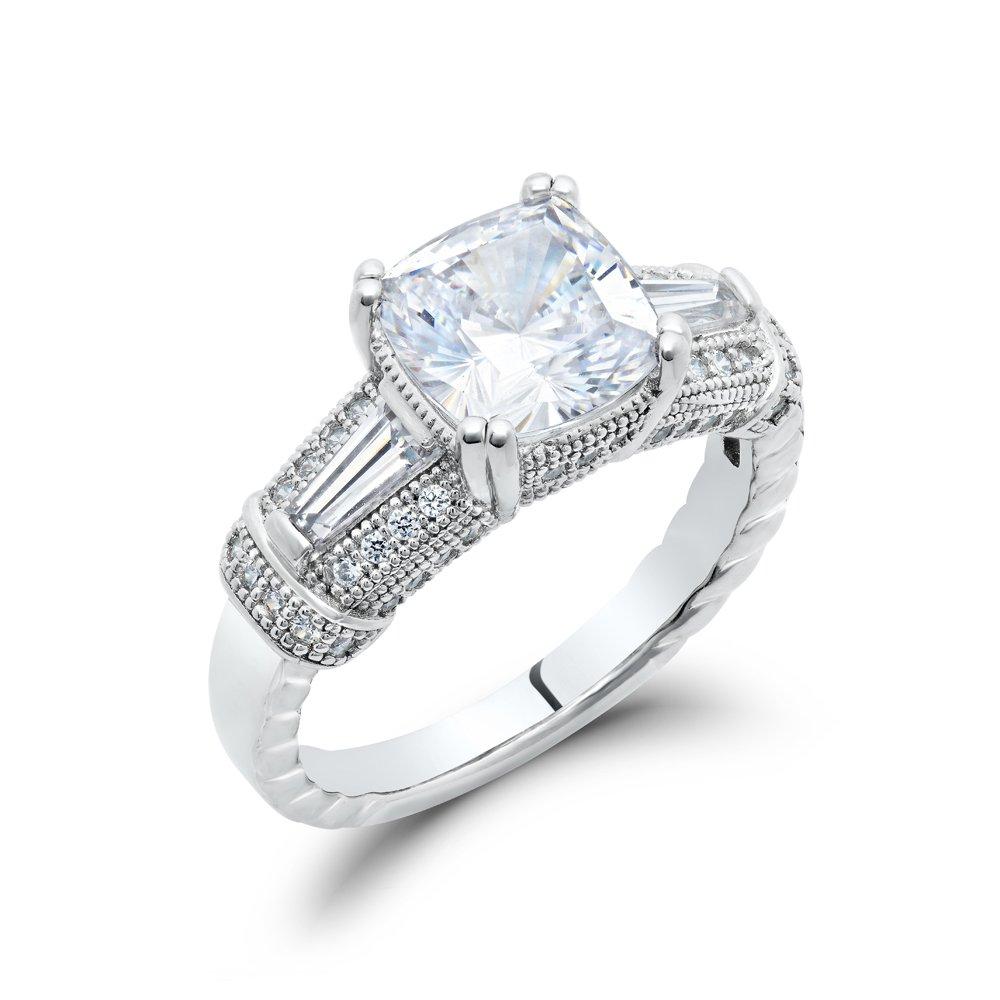 Cushion Cut Ladies Engagement Signaty Diamond Ring .925 Sterling Silver