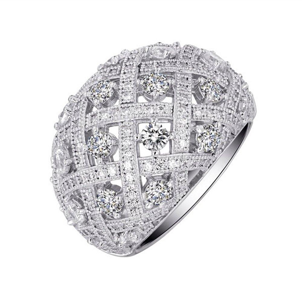Miligrain .925 Sterling Silver Ladies Signaty Diamond Ring Micro Pave