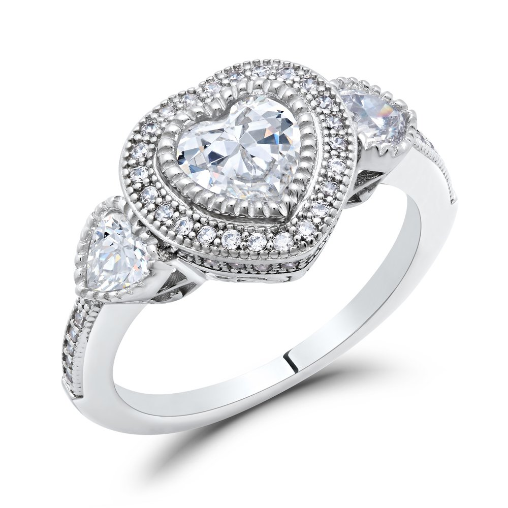 Heart Signaty Diamond Micro Pave Ladies Ring Miligrain