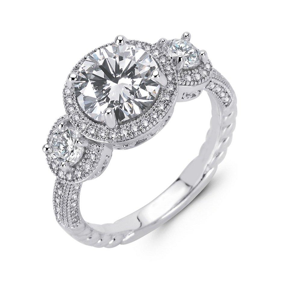 Three Stone Round Ladies Engagement Ring Micro Pave .925 Sterling Silver Signaty Diamonds