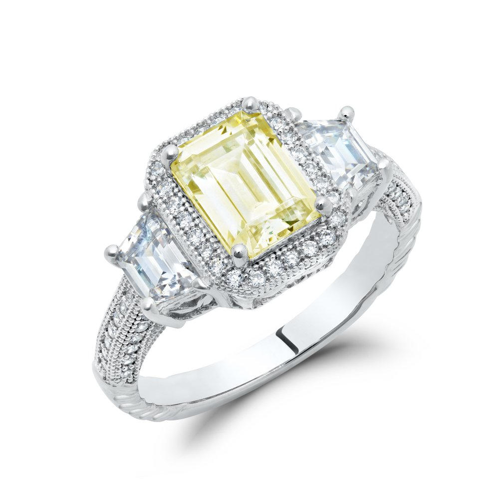 Canary Yellow Three Stone Emerald Engagement Ring Signaty Diamonds .925 Sterling Silver