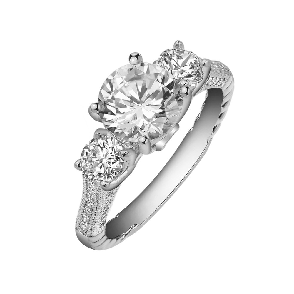 Three Stone Ladies Signaty Diamonds Ring .925 Sterling Silver Micro Pave Engagement Ring
