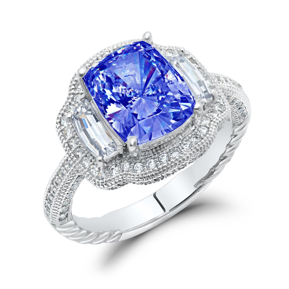 Sapphire Blue Cushion Cut Center Signaty Diamond .925 Sterling Silver Ladies Engagement Ring