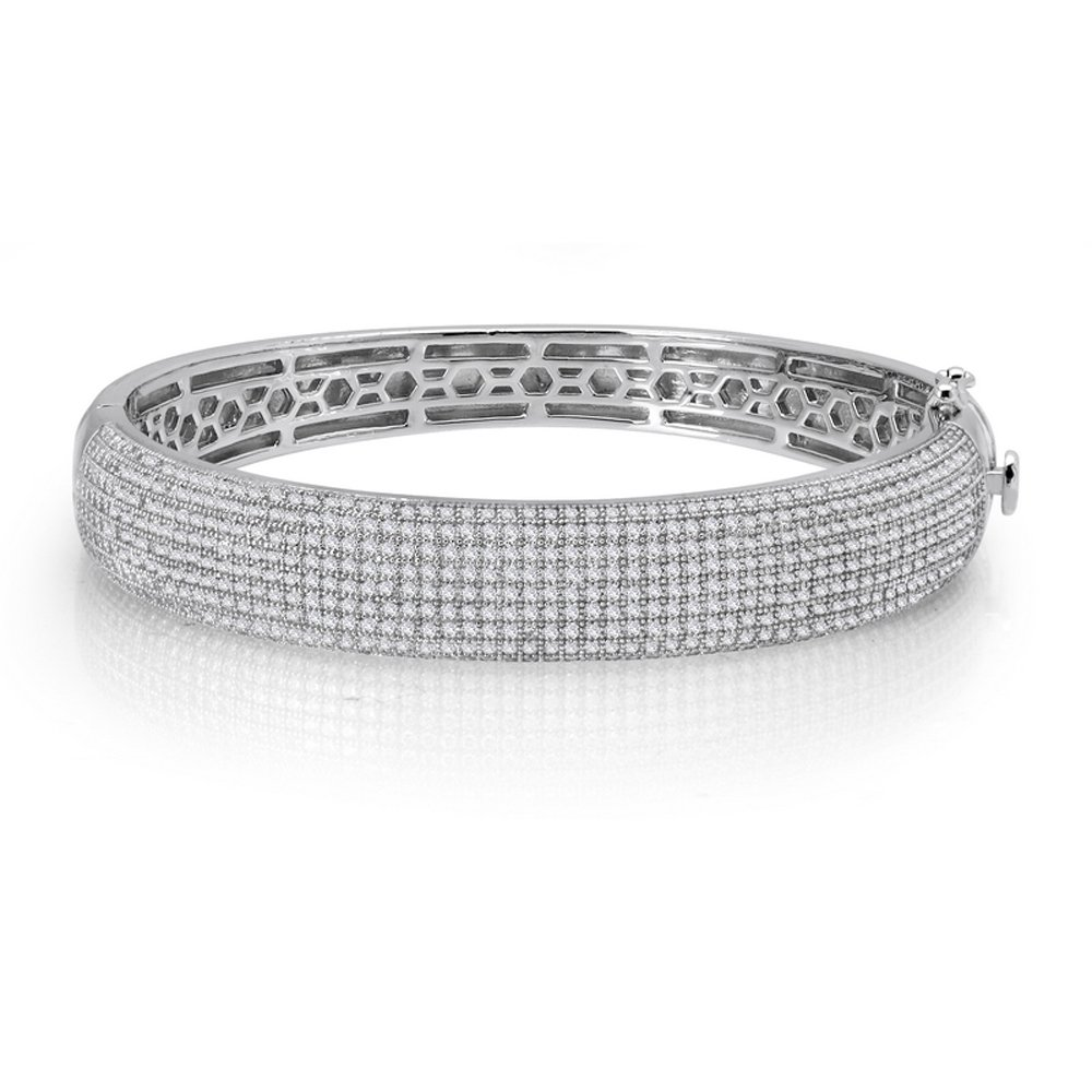 Thick Micro Pave Multi Row Signaty Diamond Ladies Bangle .925 Solid Sterling Silver Micro Pave
