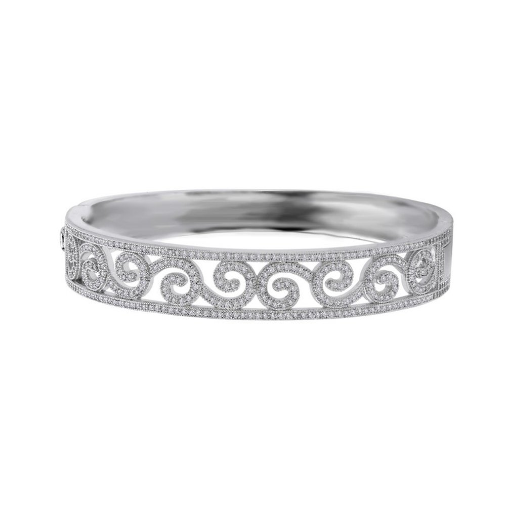 Classic Micro Pave Signaty Diamond Ladies Bangle .925 Sterling Silver and bonded with Platinum