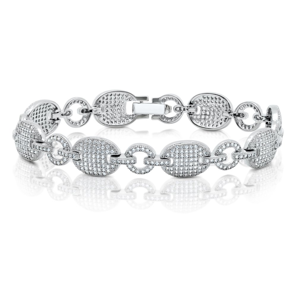 Oval & Round Shape Link Signaty Diamond Ladies Link Bracelet Solid Sterling Silver .925 Micro Pave