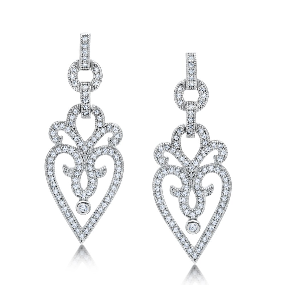 Heart Design Jewelry Drop Link Earring Triple Rhodium Plated Bonded with Platinum