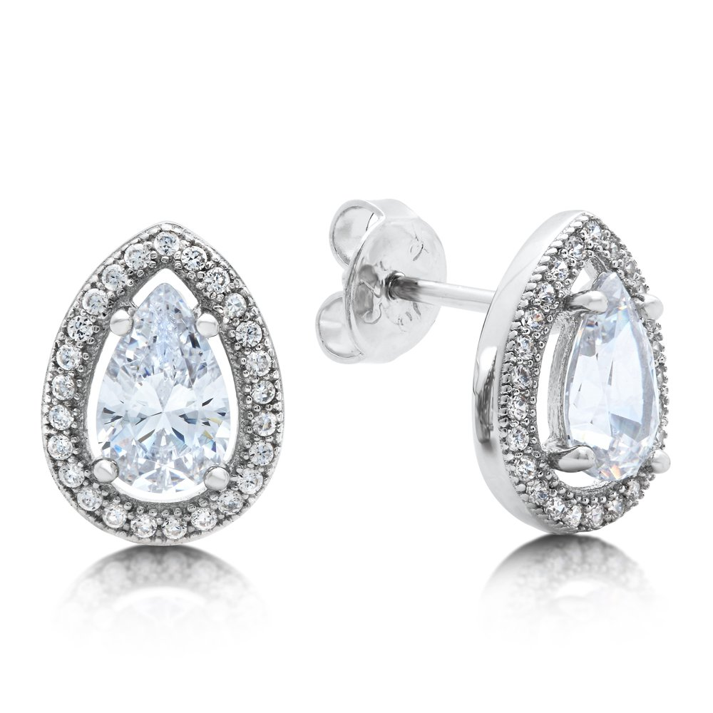 Pear Shape Signaty Simulated Diamond Earring Push Back Micro Pave bonded with Platinum