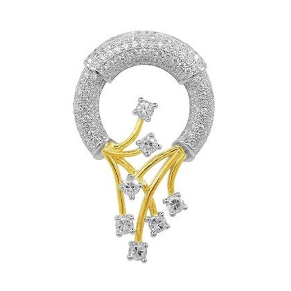 18k Gold Plated Pendant on Solid Sterling Silver with Signaty Simulated Diamonds Micro Pave