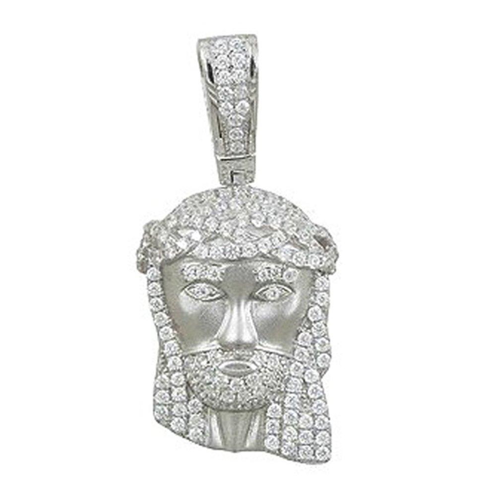 Jesus Pendant Signaty Simulated Diamond on .925 Sterling Silver Micro Pave