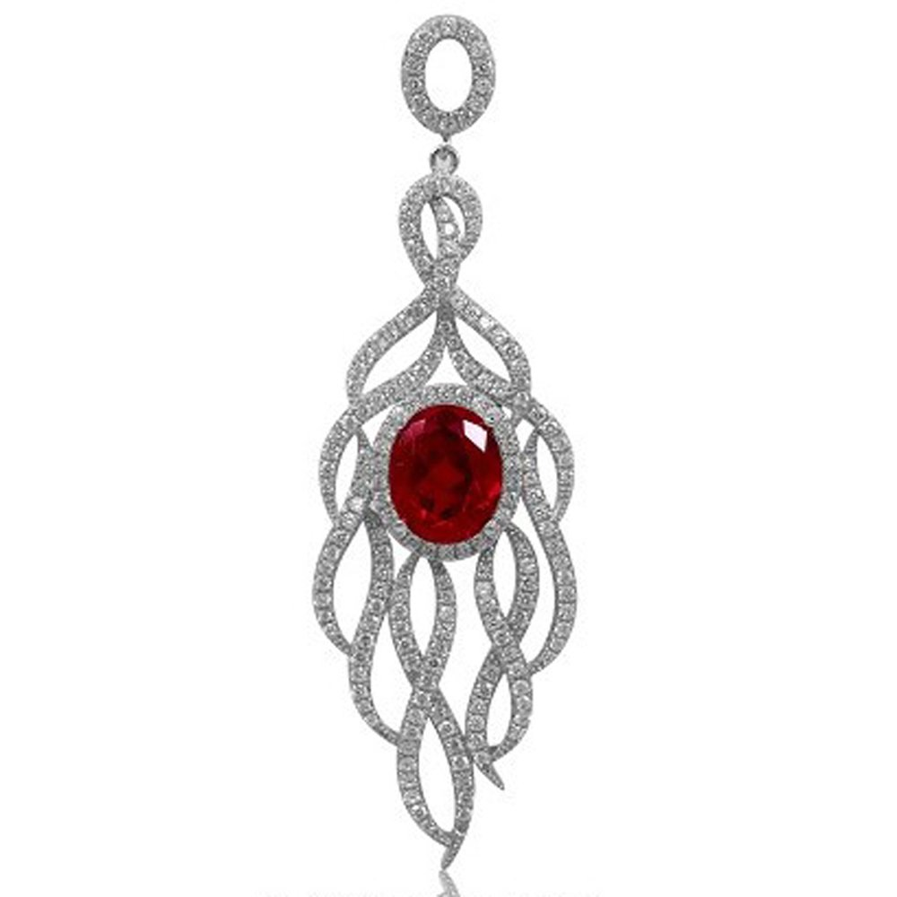 Ruby Red Corundum Based Oval Stone Micro Pave Pendant with Signaty Simulated Diamonds on .925 Silver