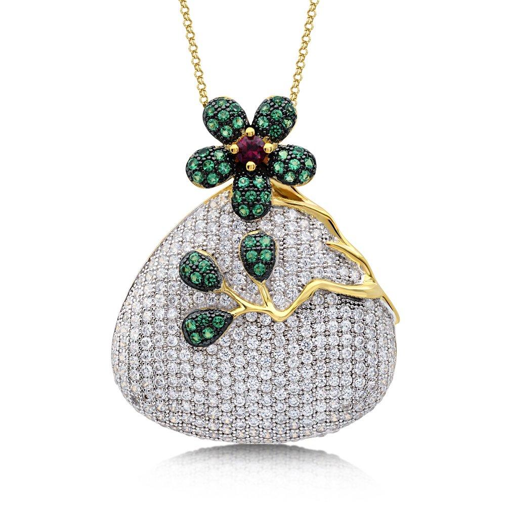 Flower Design Pendant Colorful Mixed Stones Corundum based with Signaty Simulated Diamonds