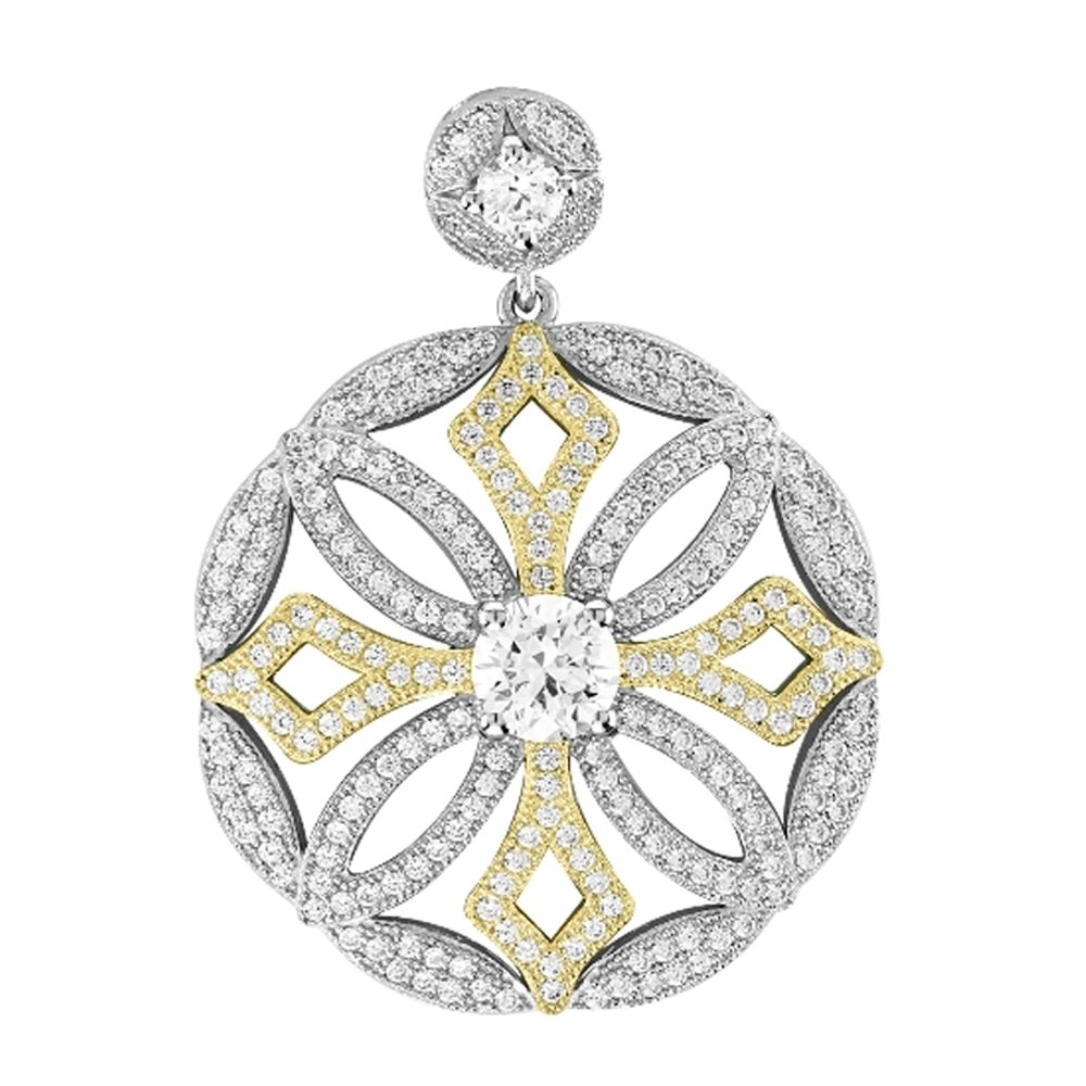 Gold Plate & Sterling Silver .925 Micro Pave Round Pendant with Signaty Simulated Diamonds