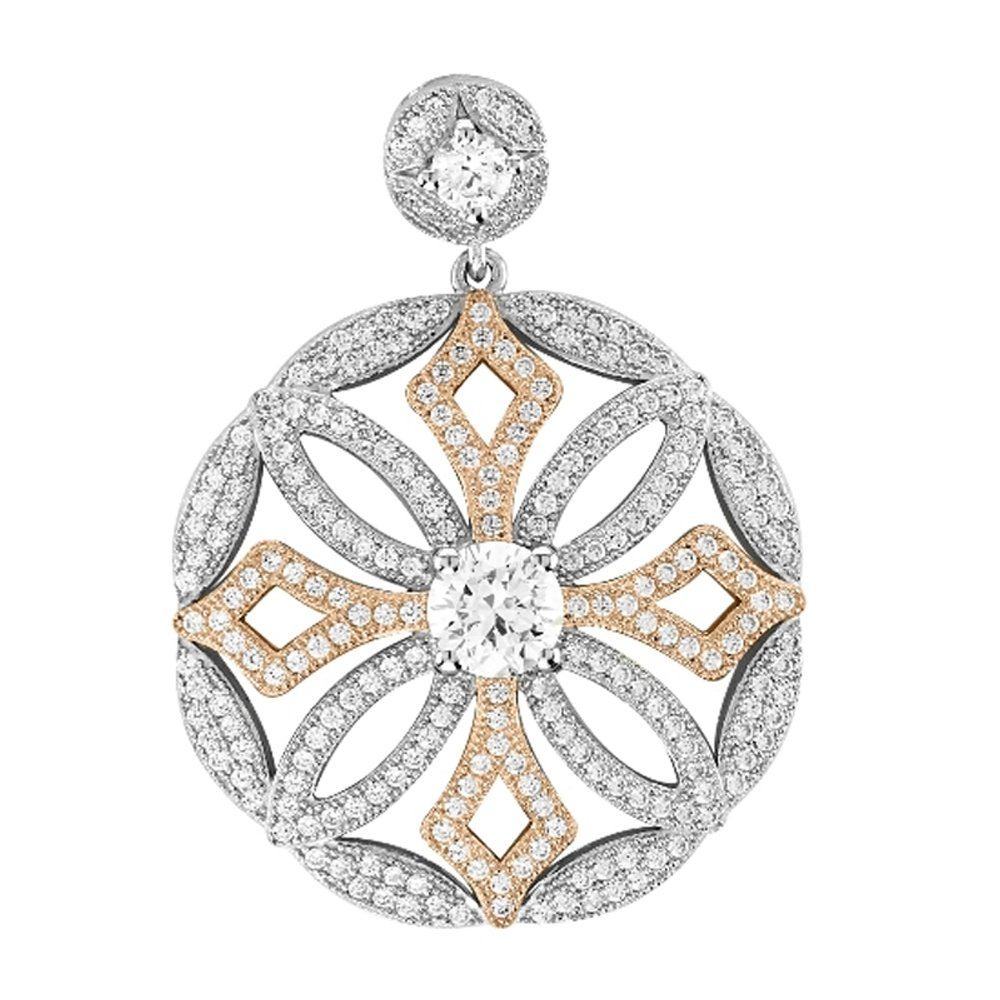 Rose Gold Plate & Sterling Silver .925 Micro Pave Round Pendant with Signaty Simulated Diamonds