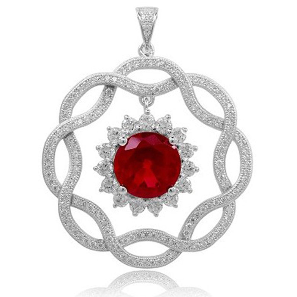 Ruby Red Pendant on Sterling Silver with Signaty Simulated Diamonds