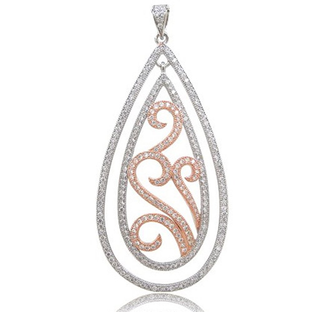 Rose Gold Plate and .925 Sterling Silver Double Drop Pendant with Signaty Simulated Diamonds