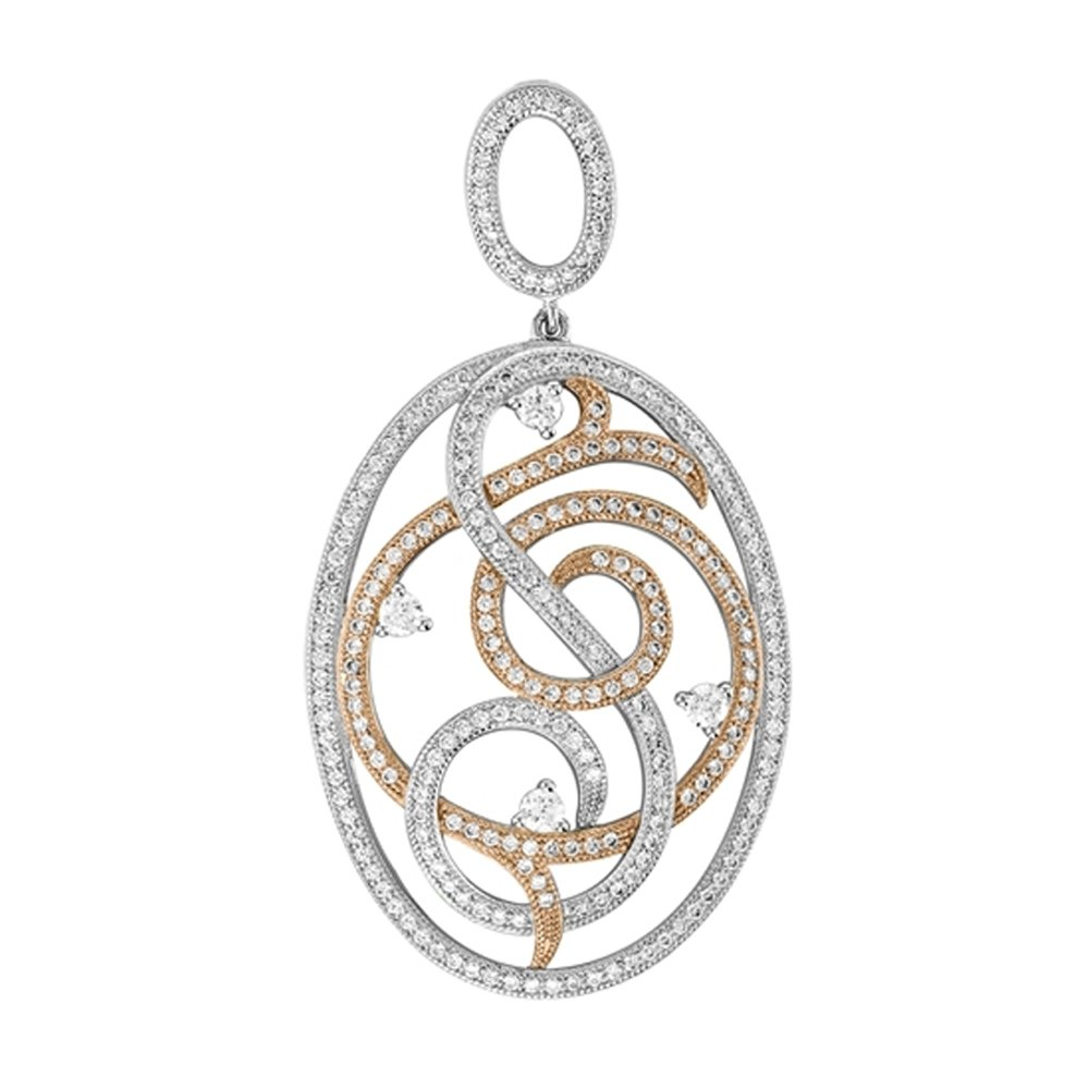 Oval Design Micro Pave Pendant Gold Plate and .925 Sterling Silver with Signaty Simulated Diamonds