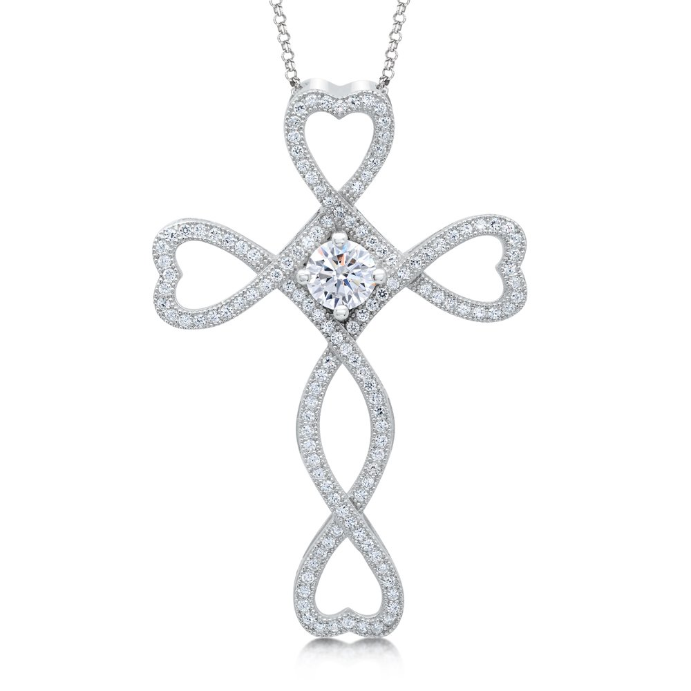 Cross Heart with Signaty Simulated Diamonds Micro Pave on .925 Sterling Silver