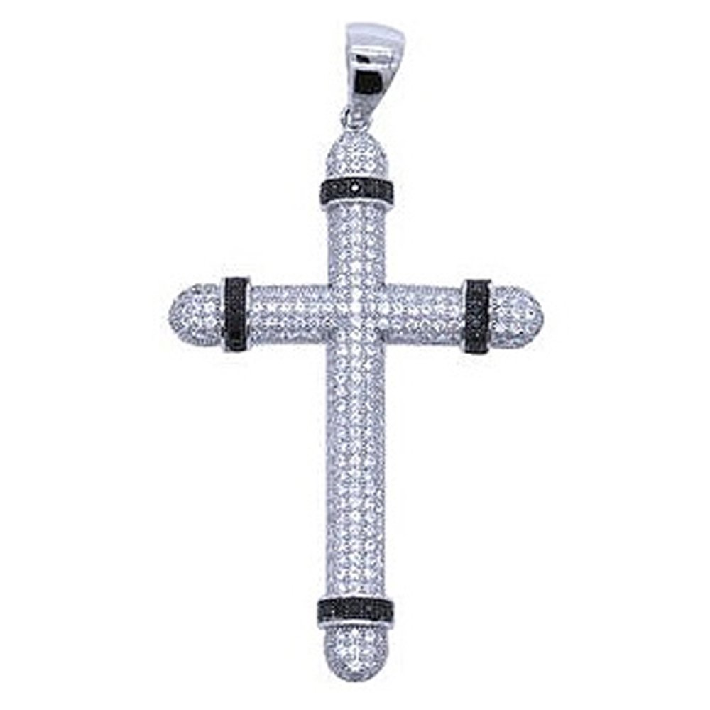 Black and White Micro Pave Solid Classic Cross on .925 Sterling Silver Pendant