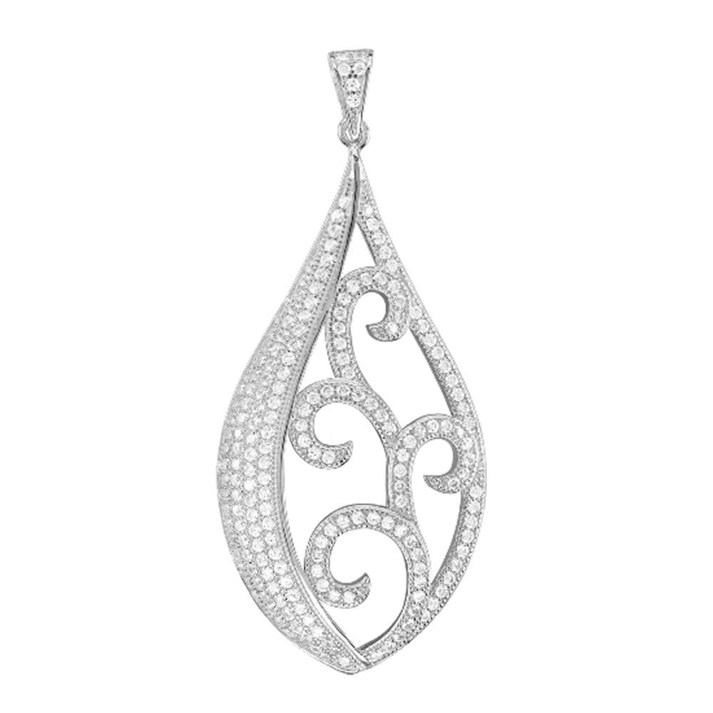 Fancy Design Pendant on .925 Sterling Silver with Signaty Simulated Diamonds