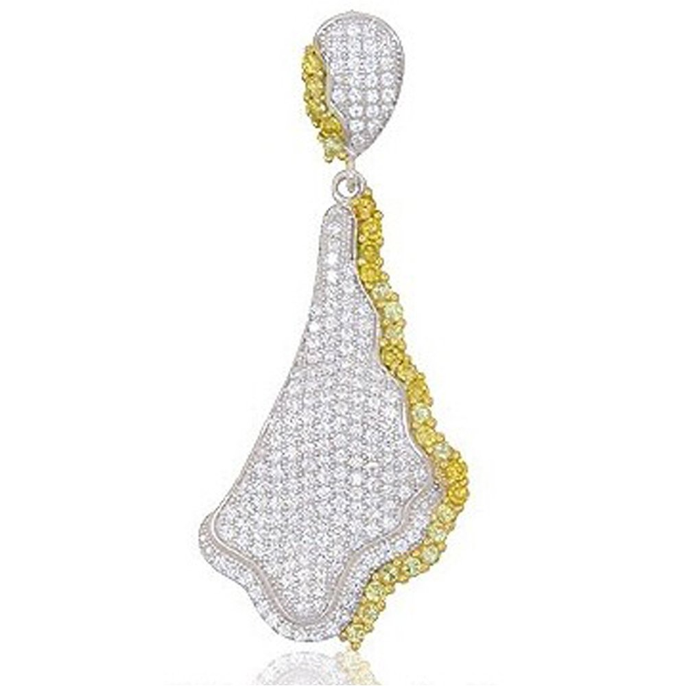 Design Pendant with Signaty Simulated Diamonds on .925 Sterling Silver