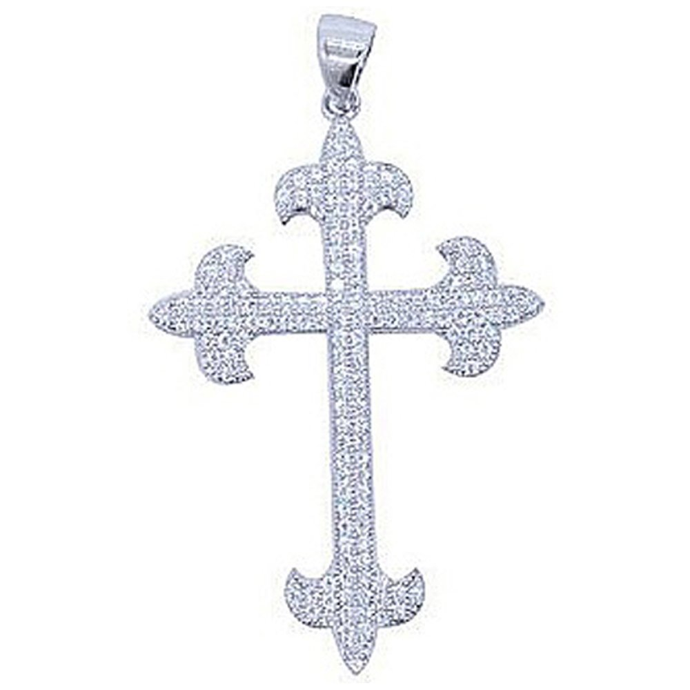 Anchor Ends Design Cross on .925 Sterling Silver with Signaty Simulated Diamonds