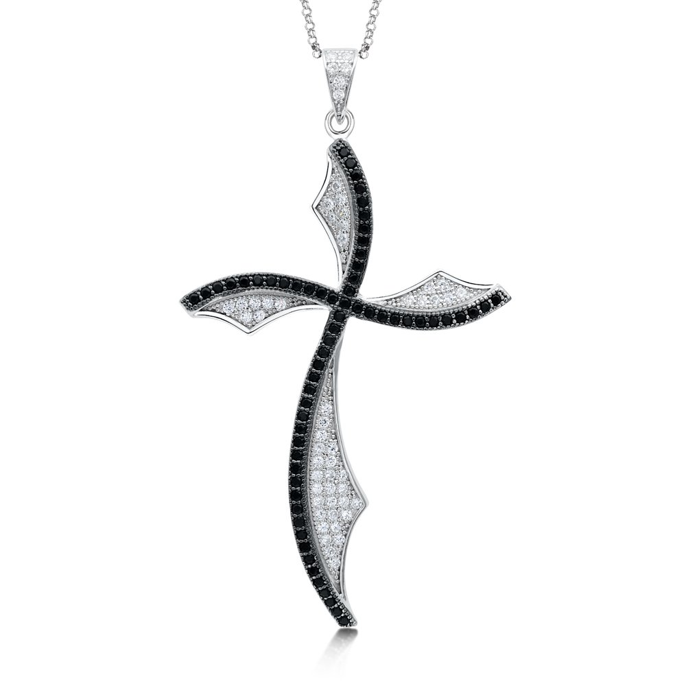 Twist Design Cross with Black stones and Signaty Simulated Diamonds on .925 Sterling Silver
